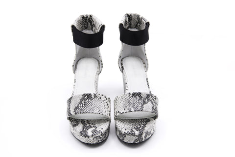 Black and White Python Platform Sandals