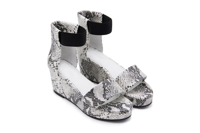 Black and White Python Sandal