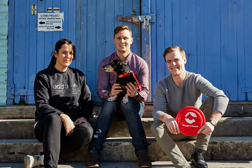 The Founders of Companion, Andrew Hambly and Joe Greathead, with Dora Georgaklis of Maggies' Rescue