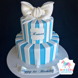 1st Birthday Stripes Cake