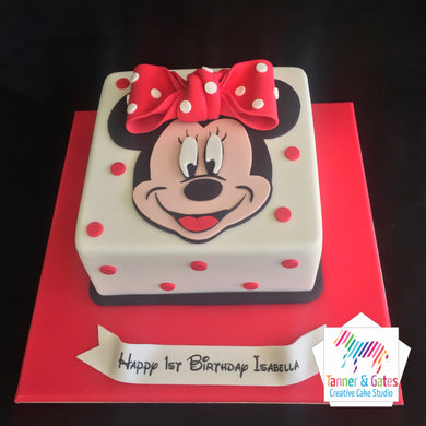 Minnie Mouse 2D Cake White - Square
