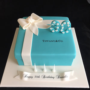 Tiffany Box (with Age & Stencil) Birthday Cake