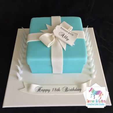 Tiffany Box Birthday Cake - Gift Bow