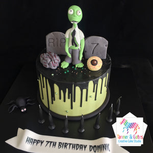 Halloween Zombie Drip Birthday Cake