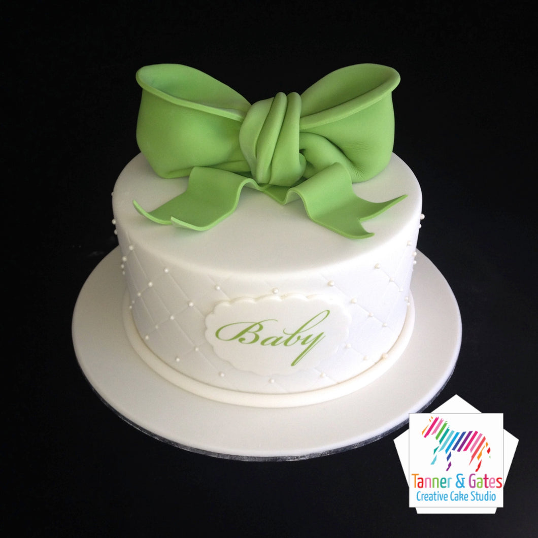 Big Bow Baby Shower Cake
