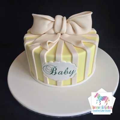 Bow & Stripes Baby Shower Cake