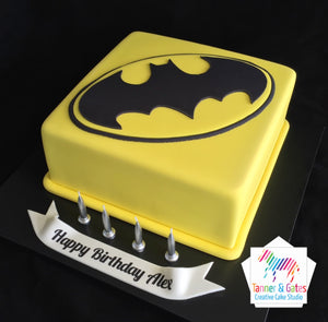 Batman Logo Birthday Cake (square)