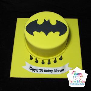 Batman Logo Birthday Cake (round)