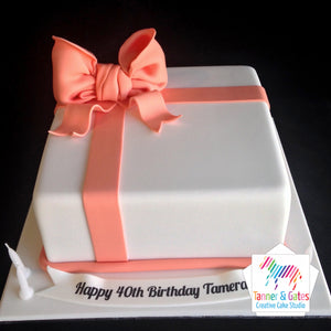 Big Bow Birthday Cake (Square)