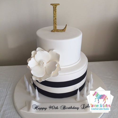 Black White Gold Magnolia Cake