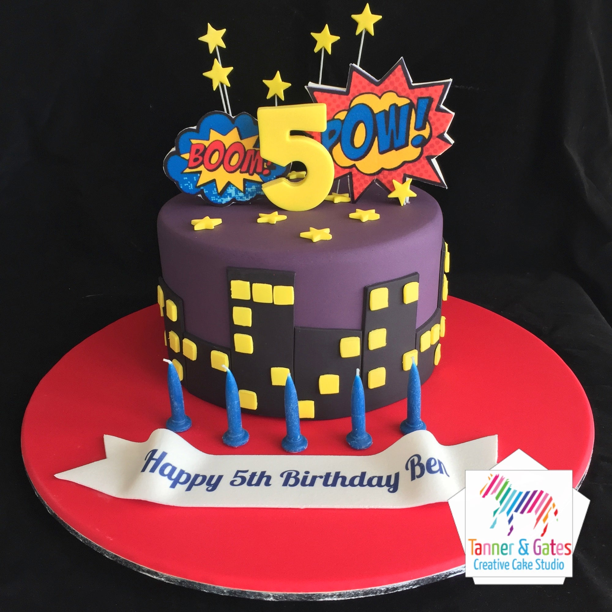 Fabulous Pow Boom Superhero Birthday Cake Tanner Gates Personalised Birthday Cards Rectzonderlifede