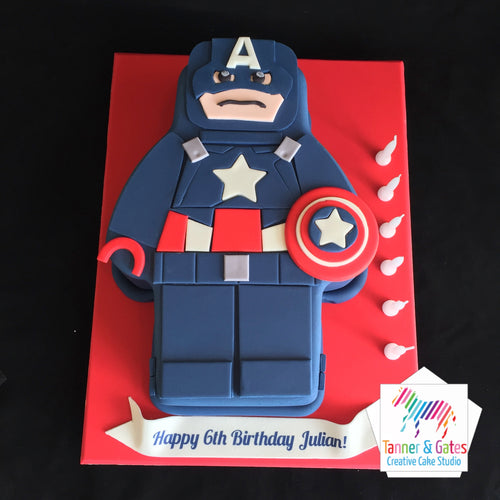 Lego Movie Captain America Cake