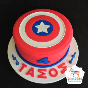 Captain America Logo Birthday Cake