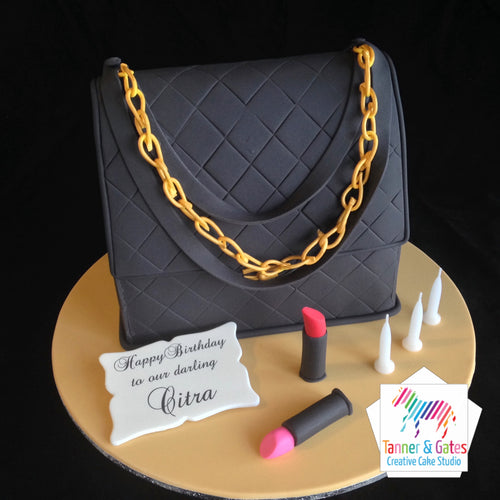 Black Chanel Bag Birthday Cake