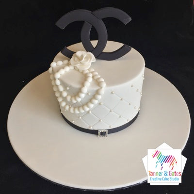 Chanel Logo & Pearls Cake