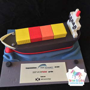 Container Ship Corporate Cake