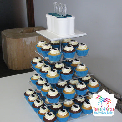 Corporate Cake Topper + Cupcakes