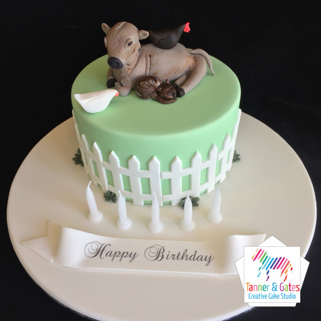 Cow in Field Farm Cake