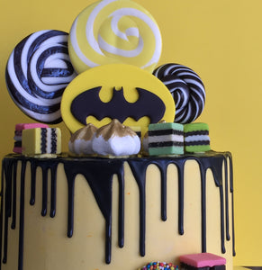 Batman Logo Drip Birthday Cake (round)