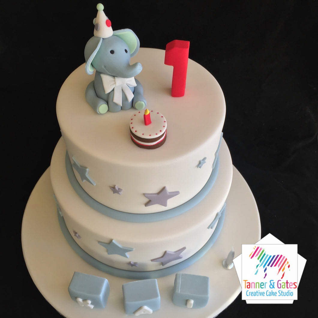 Elephant 1st Birthday Cake - 2 tier