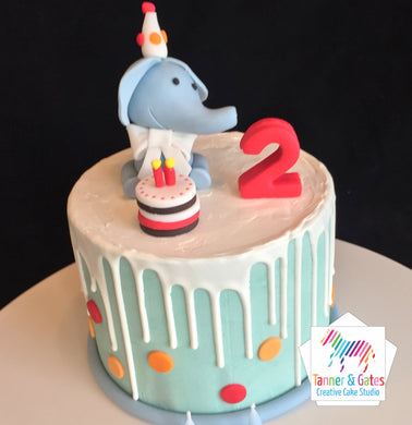 Elephant Birthday Drip Cake