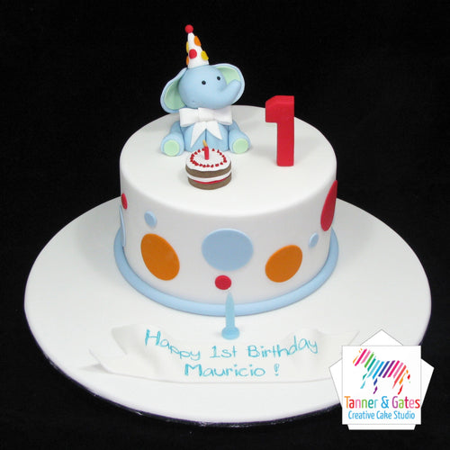 Elephant 1st Birthday Cake