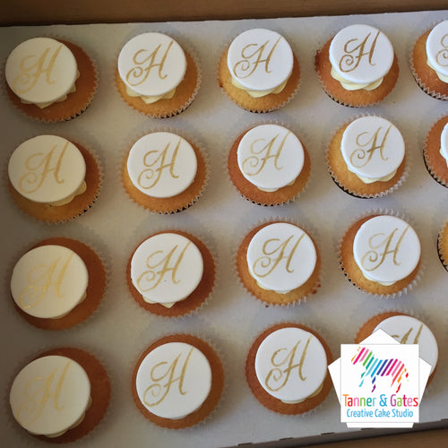 Initials Cupcakes (hand-painted gold)