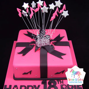 Shooting Stars Hot-Pink Cake (Square)