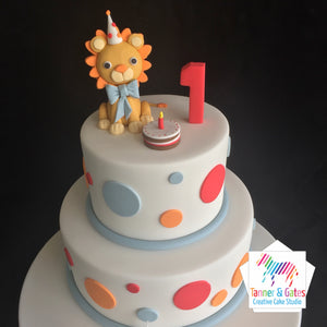 Lion 1st Birthday Cake - 2 tier