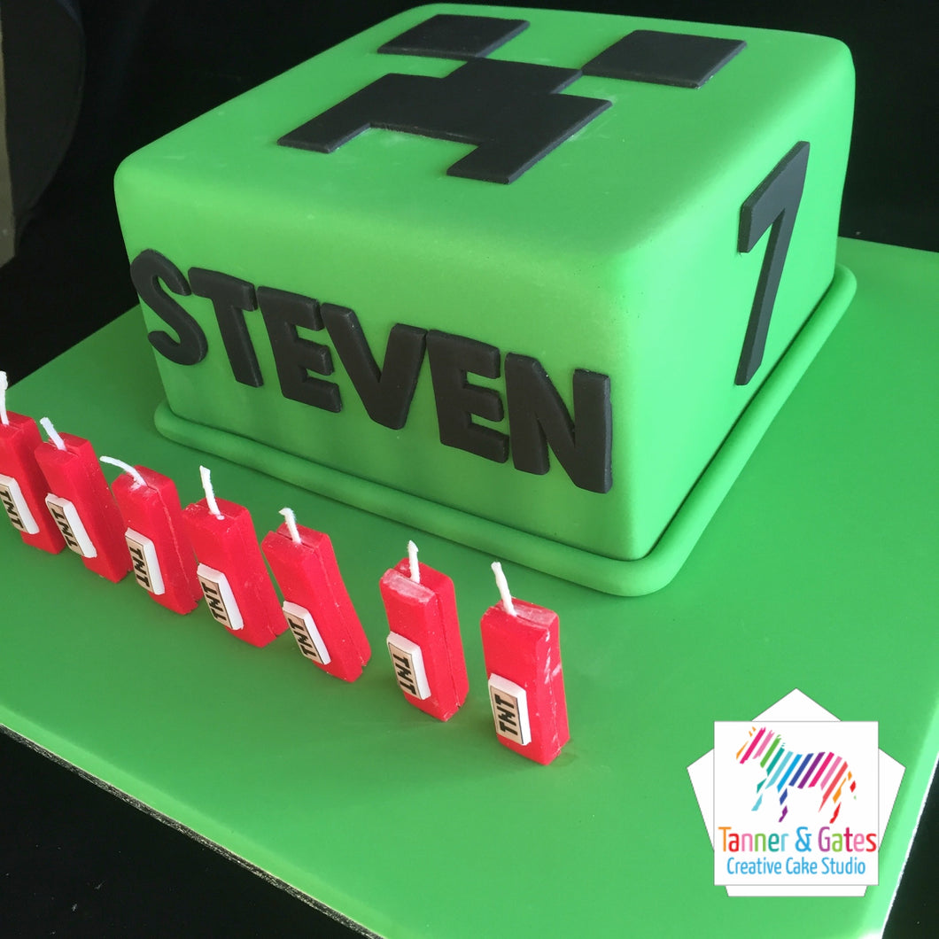 Minecraft Creeper Cake (square)