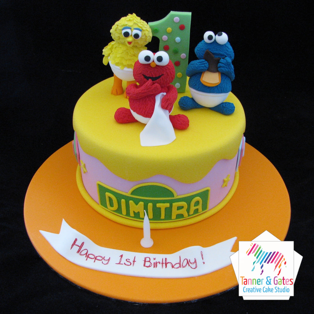 Fabulous Sesame Street Babies 1St Birthday Cake Tanner Gates Personalised Birthday Cards Cominlily Jamesorg