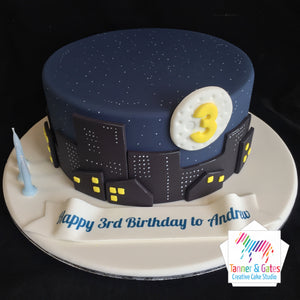 Night Sky Cityscape Cake - DIY