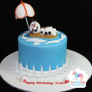 Olaf on the Beach Birthday Cake