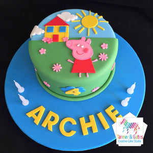 Peppa Pig Cake - 2D Cut-out Cake (Blue)