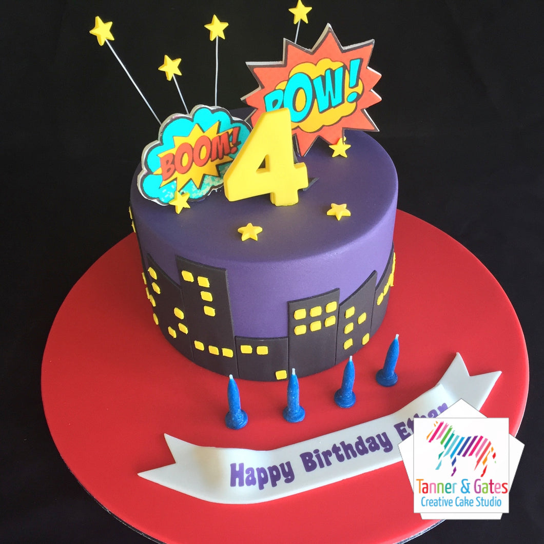 Pow ! Boom ! Superhero Birthday Cake