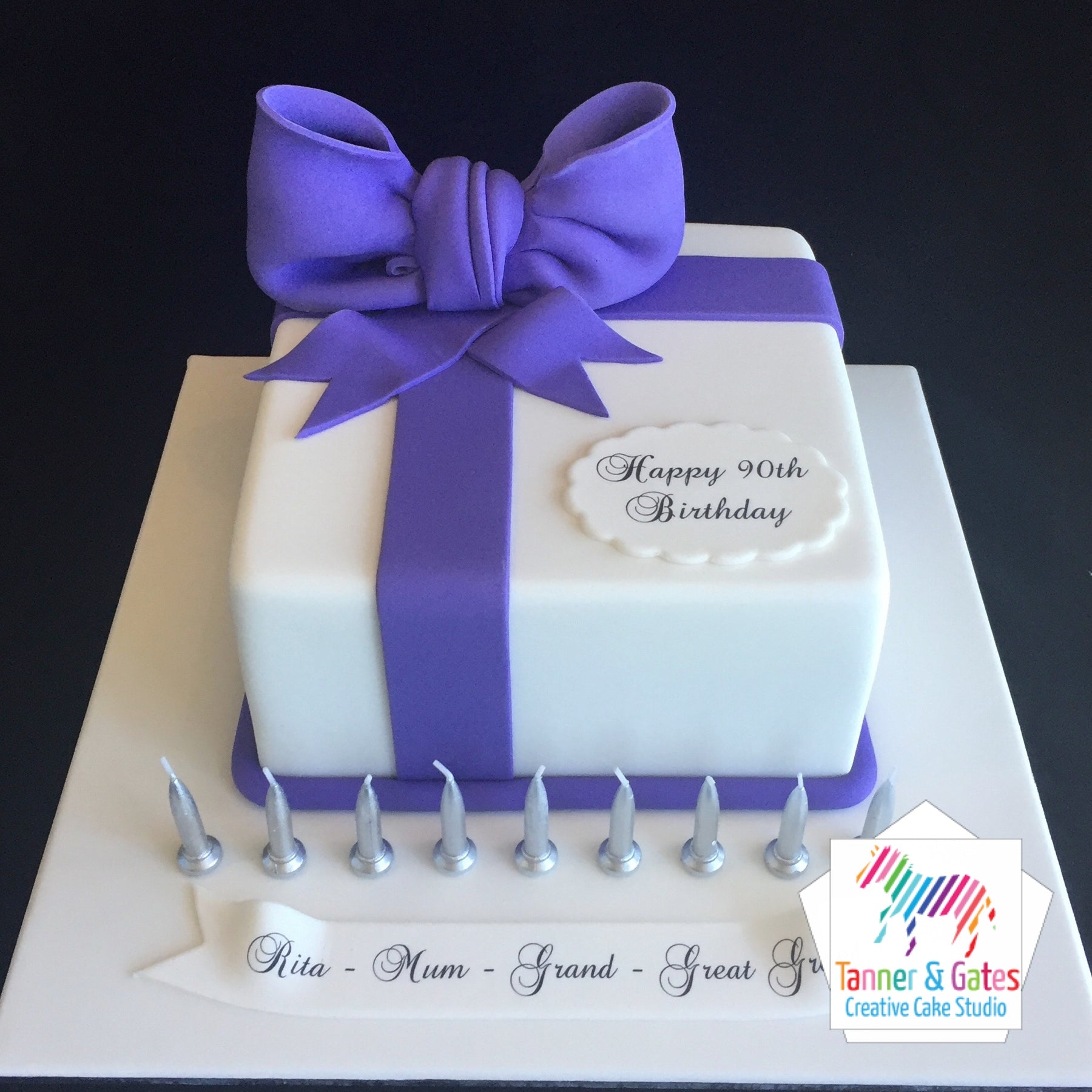 Outstanding Big Bow Birthday Cake Square Tanner Gates Funny Birthday Cards Online Hendilapandamsfinfo