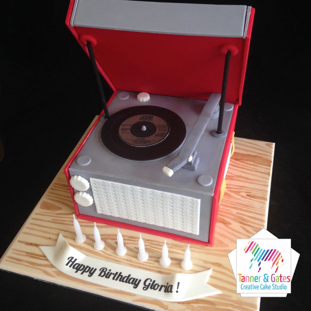 Vinyl Record Player Cake