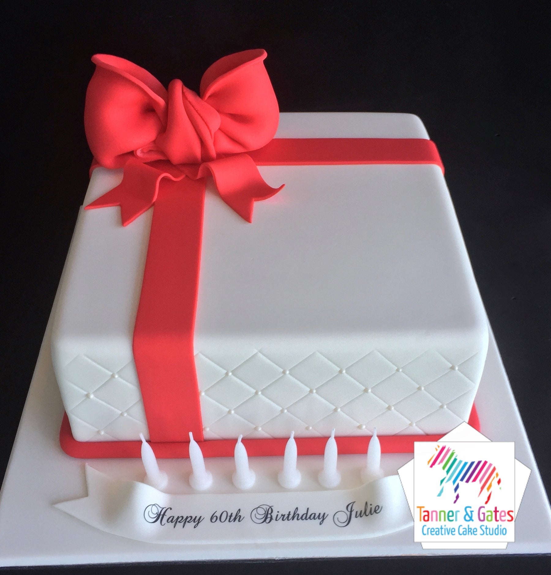 Surprising Big Bow Birthday Cake Square Tanner Gates Funny Birthday Cards Online Hendilapandamsfinfo