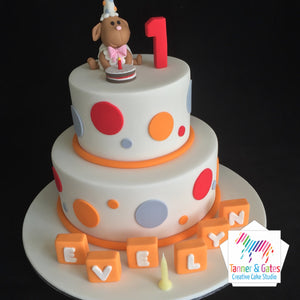 Sheep 1st Birthday Cake - 2 tier
