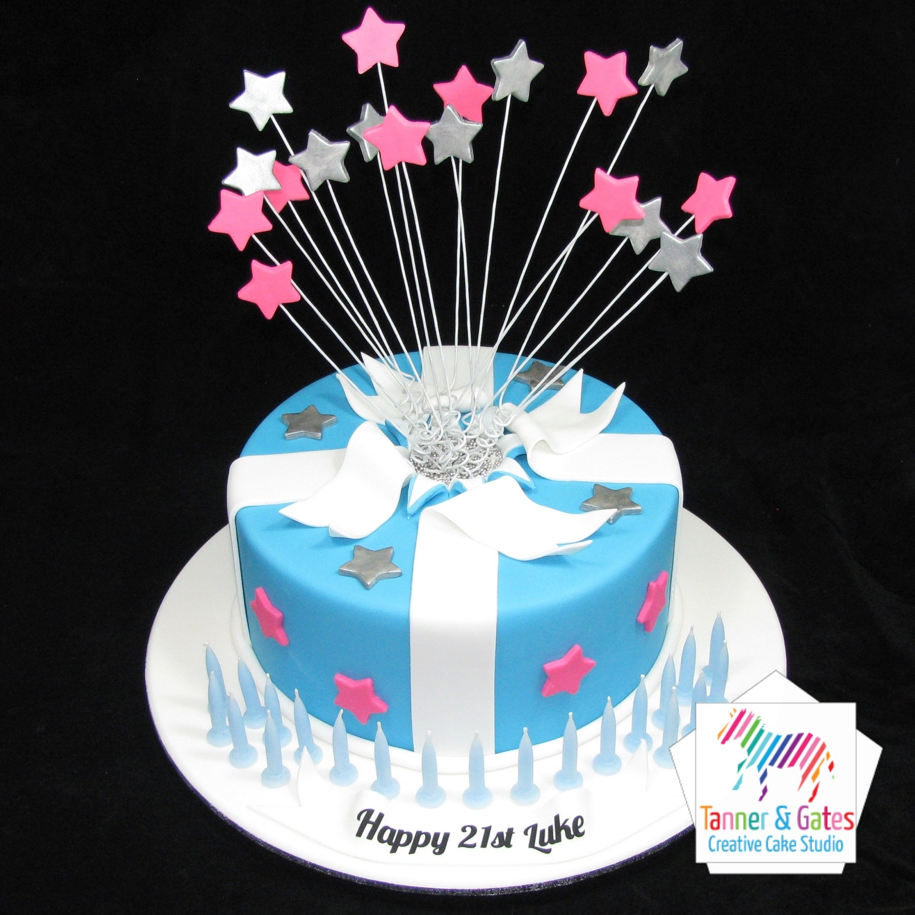 Shooting Stars Birthday Cake Round