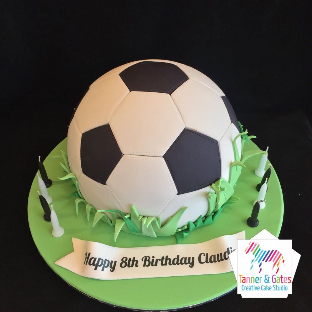 Outstanding Soccer Ball Birthday Cake Tanner Gates Personalised Birthday Cards Veneteletsinfo