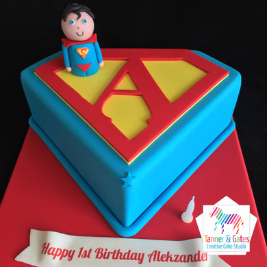 Baby Superman Letter Birthday Cake