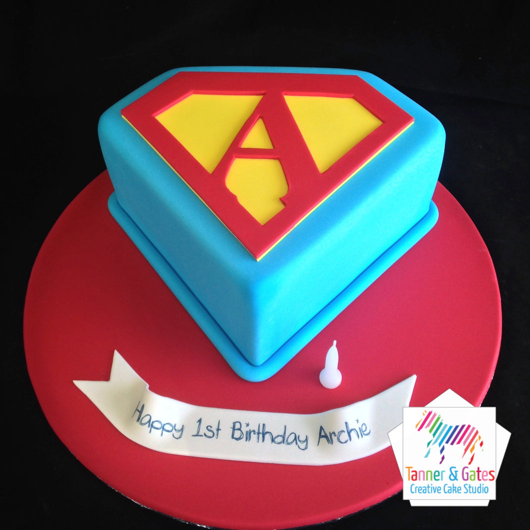 Superman Letter Logo Birthday Cake