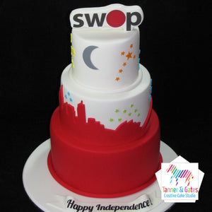 Multi-Tiered Corporate Logo Cake