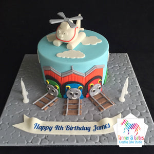 Stupendous Thomas Tank Cake Harold Helicopter Tanner Gates Birthday Cards Printable Riciscafe Filternl