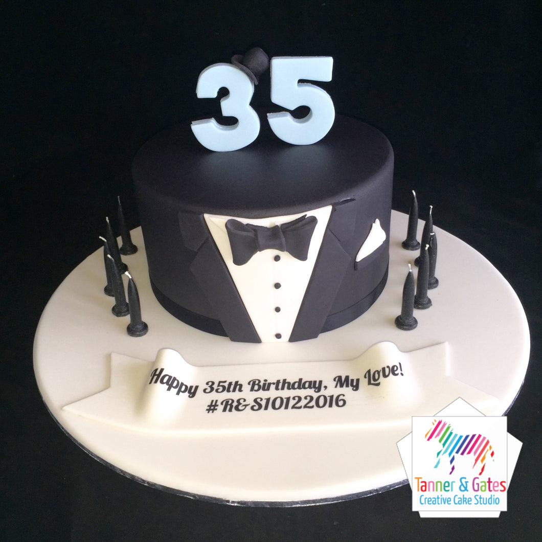 Tuxedo Birthday Cake (single tier)