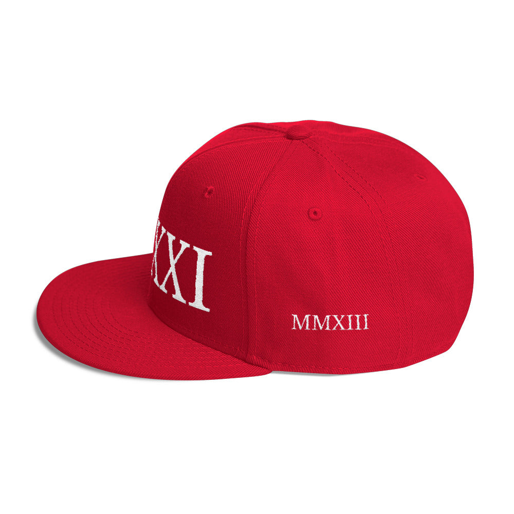 V.XXI (-0521-) Wool Blend Snapback w/White Embroidery