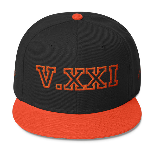 V.XXI (0521) Wool Blend Snapback w/Orange Embroidery