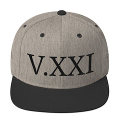 V.XXI (-0521-) Wool Blend Snapback w/Black Embroidery