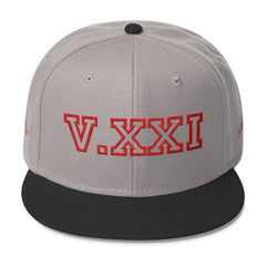 V.XXI (0521) Wool Blend Snapback Cap w/Red Embroidery